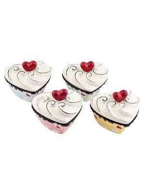Набор из 4-х банок с крышками Сердечки-Biscuits Elff Ceramics. Цвет: желтый, голубой, зеленый, розовый