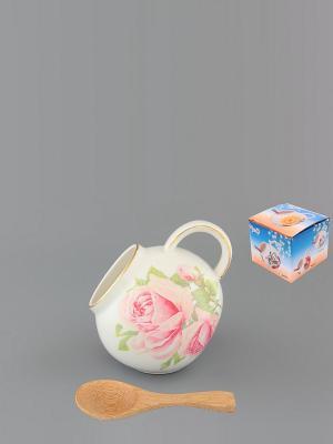Банка для соли Розовая фантазия  с деревянной ложкой Elan Gallery. Цвет: белый, розовый