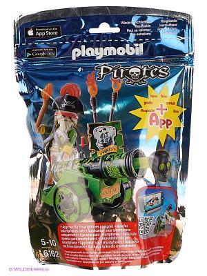 Пираты: Зеленая интерактивная пушка с капитаном пиратов Playmobil. Цвет: зеленый