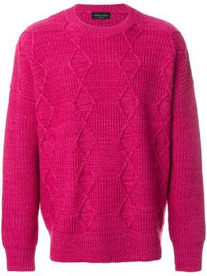 Классический трикотажный свитер Roberto Collina. Цвет: розовый и фиолетовый