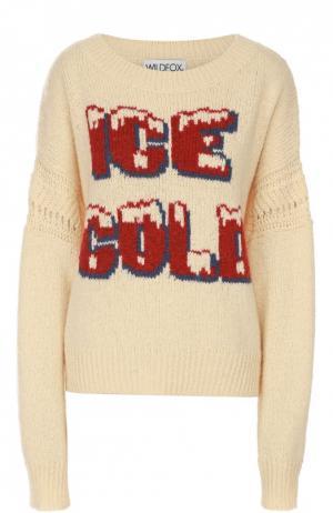 Пуловер с удлиненным рукавом и контрастной надписью Wildfox. Цвет: кремовый