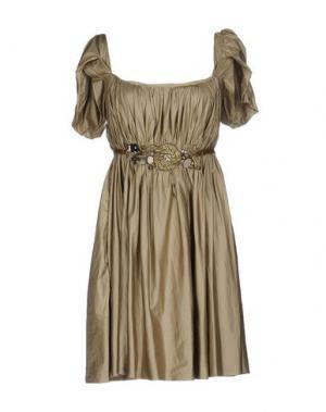 Короткое платье MAURIZIO PECORARO. Цвет: бежевый