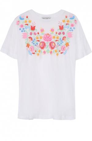 Удлиненная футболка прямого кроя с цветочным принтом Wildfox. Цвет: белый