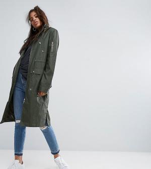ASOS Tall Вощеная куртка-дождевик. Цвет: зеленый