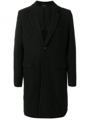 Однобортное пальто с заплаткой в виде черепа Comme Des Garçons Homme Plus. Цвет: чёрный