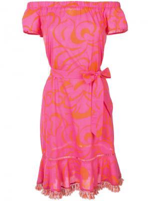 Платье с поясом Trina Turk. Цвет: розовый и фиолетовый