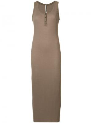 Sleeveless ribbed henley dress Isabel Benenato. Цвет: коричневый