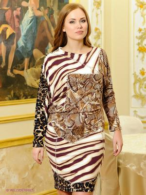 Платье МадаМ Т. Цвет: бордовый, коричневый, светло-коричневый, бежевый