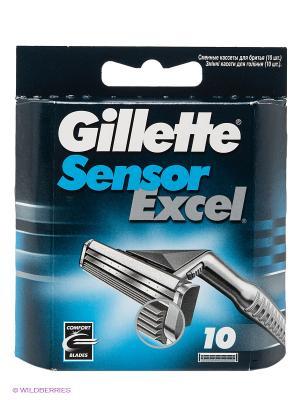 Cменные кассеты для бритья SENSOR Excel, 10 шт GILLETTE. Цвет: синий