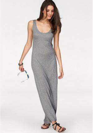 Платье макси Aniston. Цвет: серый меланжевый, черный