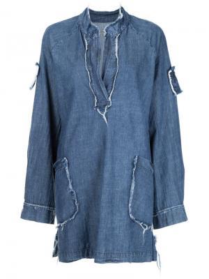 Джинсовое платье с необработанными краями Raquel Allegra. Цвет: синий