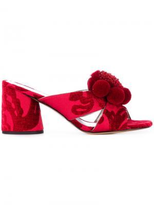 Мюли с помпонами Aurora Marc Jacobs. Цвет: красный
