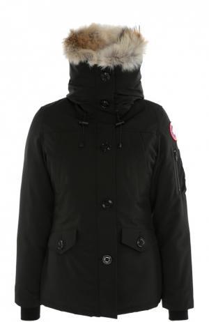 Утепленная куртка с капюшоном и меховой отделкой Canada Goose. Цвет: черный