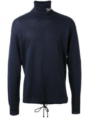 Джемпер с отворотной горловиной и вышивкой Selfmade By Gianfranco Villegas. Цвет: синий