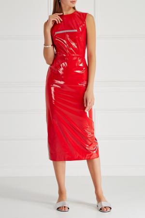 Платье из красного лака SUBTERRANEI. Цвет: красный
