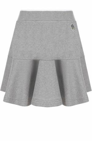 Хлопковая мини-юбка с оборкой Kenzo. Цвет: серый