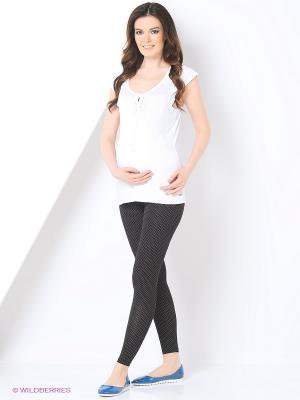 Лосины для беременных с эластичным поясом под живот Hunny Mammy. Цвет: черный, белый