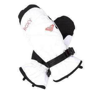 Варежки сноубордические женские  Rxjettysolidmit Bright White Roxy. Цвет: черный,белый