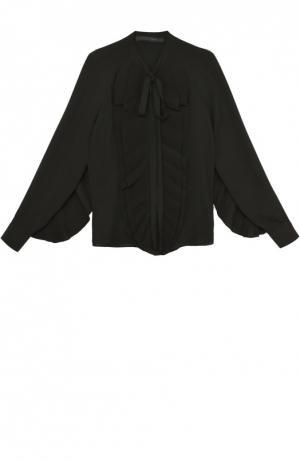 Шелковая блуза с воротником аскот и плиссированными оборками Elie Saab. Цвет: черный
