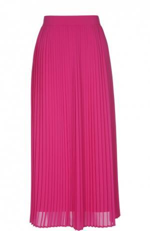 Плиссированная юбка-миди с широким поясом Kenzo. Цвет: фуксия
