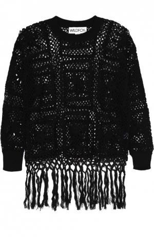 Пуловер крупной вязки с круглым вырезом и бахромой Wildfox. Цвет: черный