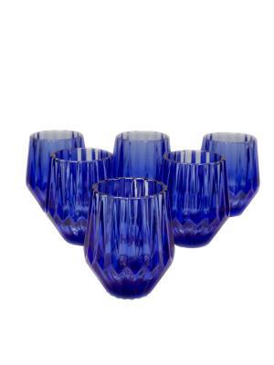 Набор стаканов Вэлиант для воды и виски из цветного стекла, 6шт. DEEPOT. Цвет: синий