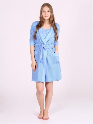 Домашний костюм для беременных и кормящих Flip. Цвет: синий
