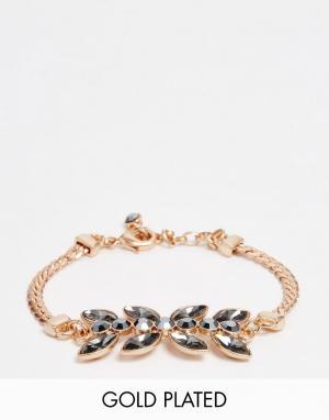 Pilgrim Броский золотисто-розовый браслет с камнями. Цвет: золотой