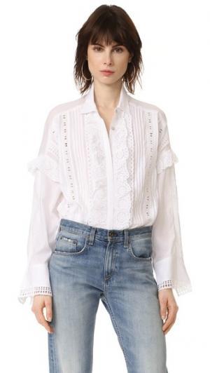 Блузка с рюшами спереди The Kooples. Цвет: белый