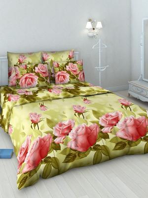 Комплект постельного белья из бязи 1,5 спальный Василиса. Цвет: оливковый, зеленый, красный