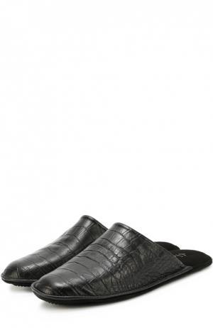 Домашние туфли из кожи с тиснением под крокодила Homers At Home. Цвет: черный