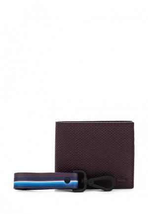 Комплект портмоне и брелок Lacoste. Цвет: бордовый