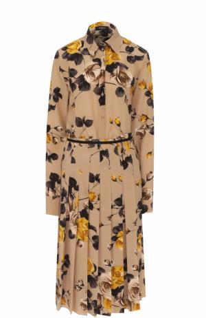 Шелковое платье-рубашка с цветочным принтом Rochas. Цвет: бежевый