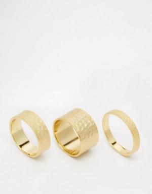 Gorjana Набор из трех кованых колец. Цвет: золотой