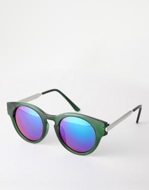 Круглые солнцезащитные очки  Crystal Trip. Цвет: зеленые зеркальные