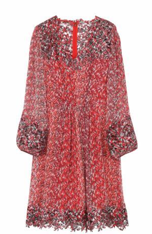 Шелковое платье с цветочным принтом Elie Tahari. Цвет: красный