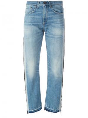 Укороченные джинсы с лампасами Rag & Bone /Jean. Цвет: синий