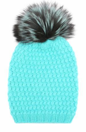 Кашемировая шапка фактурной вязки с меховым помпоном William Sharp. Цвет: бирюзовый
