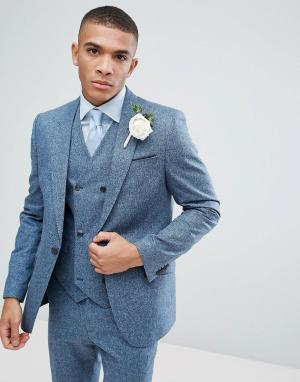 ASOS Зауженный фактурный пиджак голубого цвета из 100% шелка Wedding. Цвет: синий