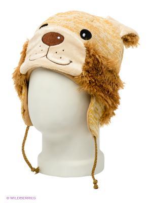 Шапка True Fur. Цвет: желтый, светло-коричневый, молочный