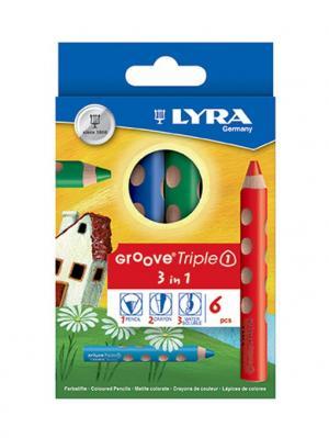 Lyra  groove triple one карандаши цветные 3 в 1 (цветной кар, акварельный восковый мелок) 6 цв. Цвет: желтый, синий, зеленый