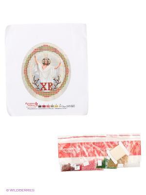 Наборы для вышивания с бисером и паспарту Христос Воскрес Матренин Посад. Цвет: белый