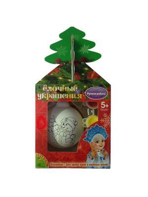 Набор для творчества BondibonЁлочные украшения Шар со снеговичком в подарочной упаковке с ёлочкой BONDIBON. Цвет: красный