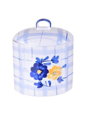 Емкость для хранения продуктов, керамика, 0,88 л BAYERHOFF. Цвет: белый, голубой