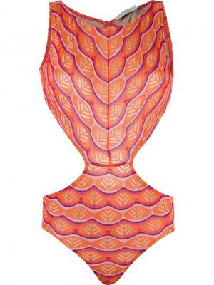 Panelled swimsuit Cecilia Prado. Цвет: жёлтый и оранжевый