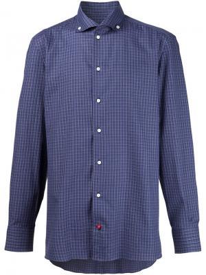 Рубашка в клетку Isaia. Цвет: синий