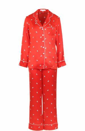 Шелковая пижама с принтом Olivia Von Halle. Цвет: красный