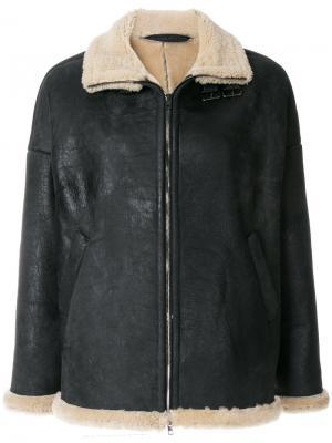 Короткая куртка с овечьей шерстью Salvatore Santoro. Цвет: чёрный