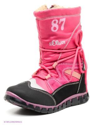 Сапоги S.OLIVER. Цвет: фуксия, розовый, черный