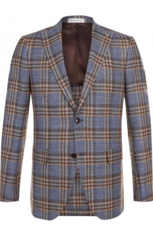 Однобортный пиджак из смеси шерсти и шелка Sartoria Latorre. Цвет: коричневый